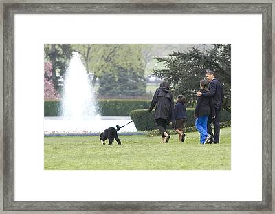 The First Family And Bo Framed Print by JP Tripp