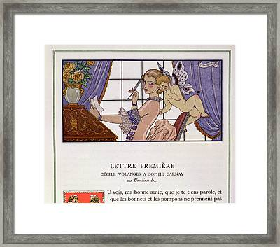 The First Letter Framed Print by Georges Barbier