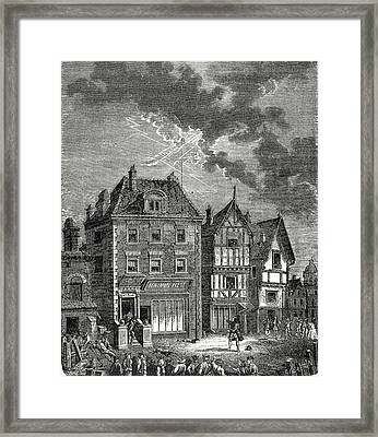 The First Lightning Rod Created By Franklin In Philadelphia Framed Print by English School