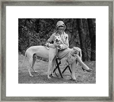 The First Miss America Margaret Gorman And Her Pet Greyhound 1925 Framed Print