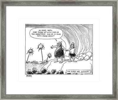 The First Mr. Sotheby 'all Right Framed Print by Jack Ziegler