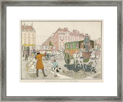 The First Omnibuses To Ply The  Streets Framed Print