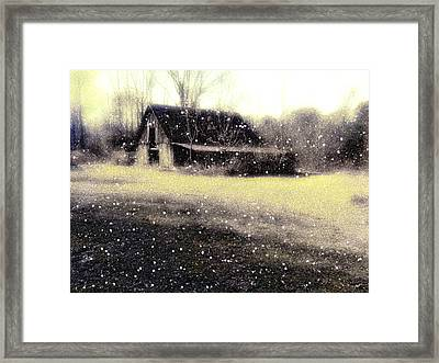 The First Snow Fall On The Old Barn Framed Print by Lisa  Griffin