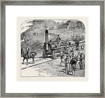 The First Train On The Stockton And Darlington Railway Framed Print by English School