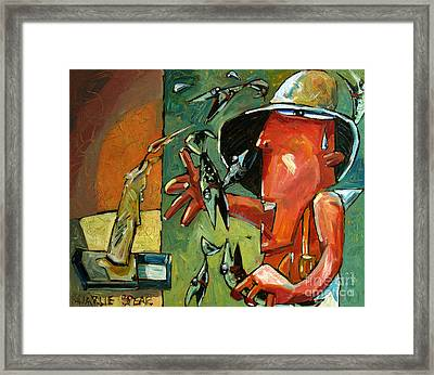 The Fish Juggler In The White Hat In Candlelight Framed Print
