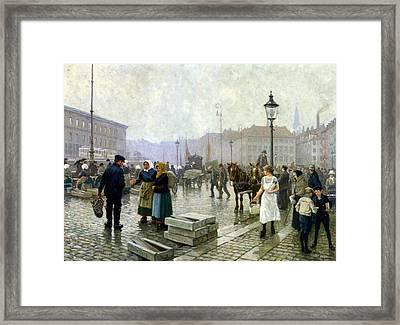 The Fish Market Copenhagen Framed Print by Paul Gustav Fischer