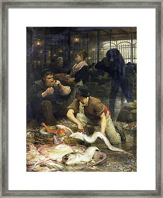 The Fish Market In The Morning, 1880 Oil On Canvas Framed Print by Victor Gabriel Gilbert