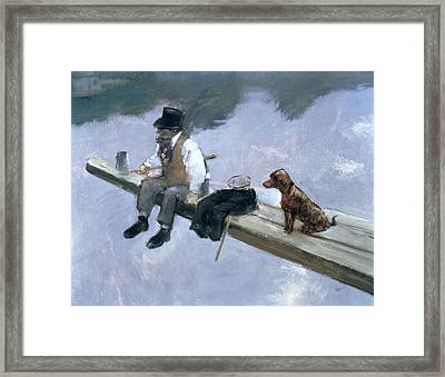 The Fisherman, Detail Of A Man Fishing Framed Print by Jean Louis Forain