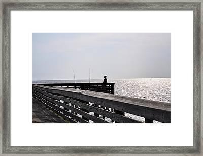 The Fisherman, Fort Island Gulf Beach, Crystal River, Florida Framed Print by Randi Kuhne