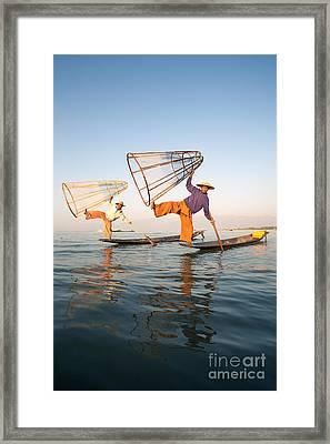 The Fishermen - Inle Lake - Myanmar Framed Print