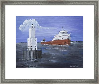 The Fitz Departs Escanaba Framed Print by Jerry McElroy