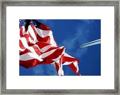 The Flag And The Blue Angels Framed Print