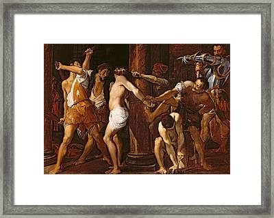 The Flagellation Of Christ, 1586-87 Oil On Canvas Framed Print