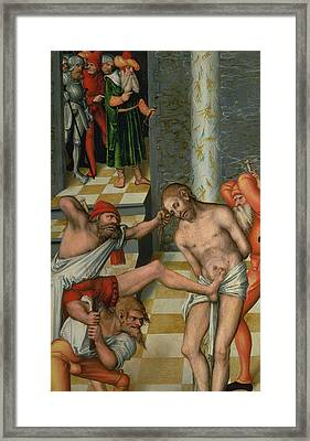 The Flagellation Of Christ Framed Print by Lucas Cranach