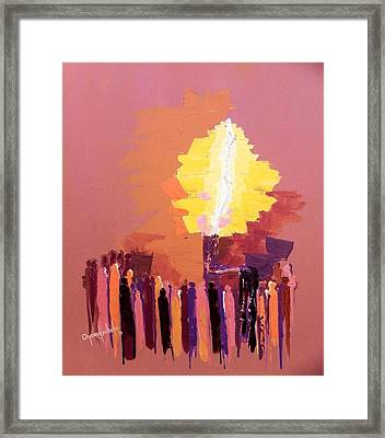 Framed Print featuring the mixed media The Flare A Beacon Of Hope And Anguish by Oyoroko Ken ochuko