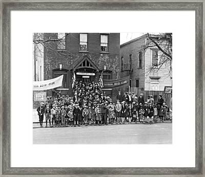 The Flatbush Boys' Club  Framed Print by Underwood Archives