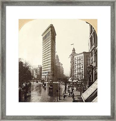 The Flatiron Building In Ny Framed Print by Underwood Archives