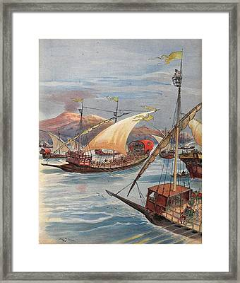 The Fleet Of Doria, Naples Framed Print by Albert Robida