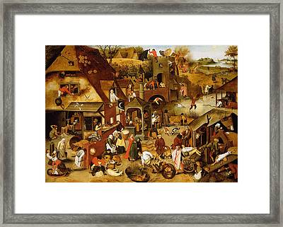 The Flemish Proverbs Oil On Canvas Framed Print by Pieter the Younger Brueghel