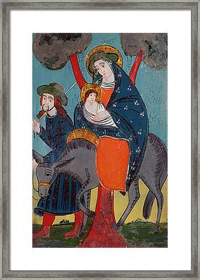 The Flight Into Egypt Glass Painting Framed Print