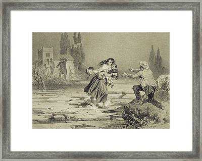 The Flight Of Eliza, Plate 3 From Uncle Framed Print by Adolphe Jean-Baptiste Bayot