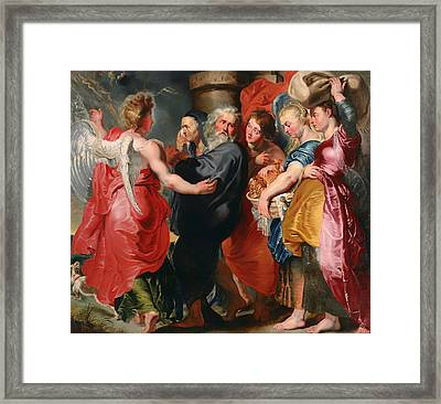 The Flight Of Lot And His Family From Sodom Framed Print by Mountain Dreams