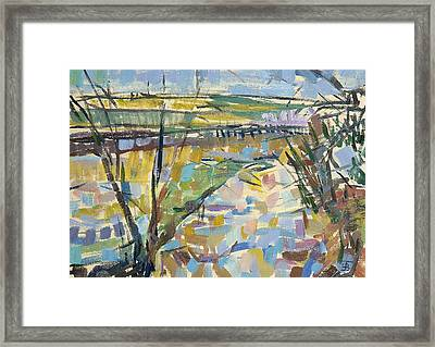 The Flooded Cherwell From Rousham I Oil On Canvas Framed Print by Erin Townsend