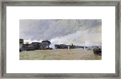 The Flooding Of The Seine, C.1903 Oil On Canvas Framed Print by Luigi Loir