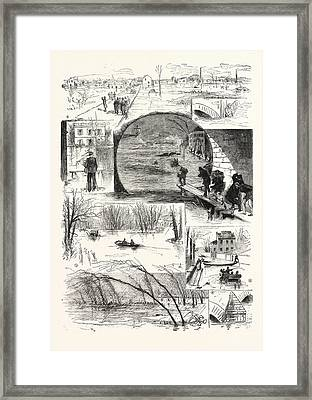 The Flooding Of The Seine, Engraving 1876 Framed Print