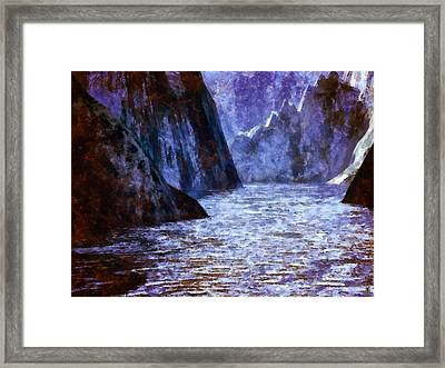 The Flow Of The Mighty River Anduin Framed Print by Mario Carini