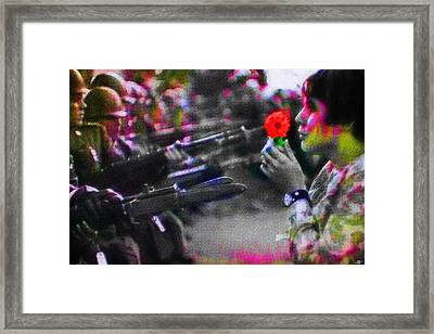 The Flower And The Bayonet Dot Pattern Red Framed Print by Tony Rubino