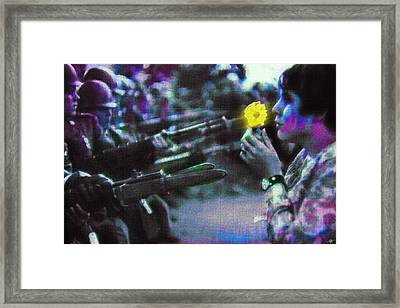 The Flower And The Bayonet Dot Pattern Yellow Framed Print by Tony Rubino
