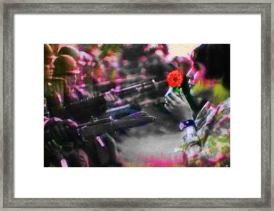 The Flower And The Bayonet Red Framed Print by Tony Rubino