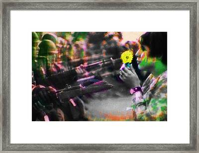 The Flower And The Bayonet Yellow Framed Print by Tony Rubino