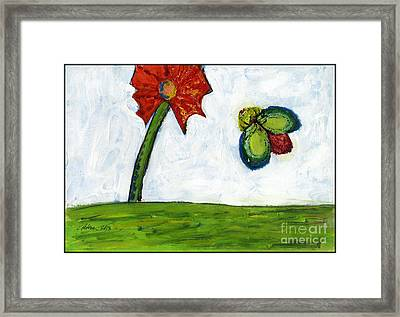 The Flower And The Bug Framed Print by Cathy Peterson