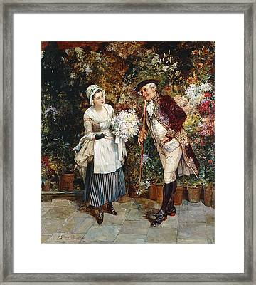 The Flower Girl Framed Print by Henry Gillar Glindoni
