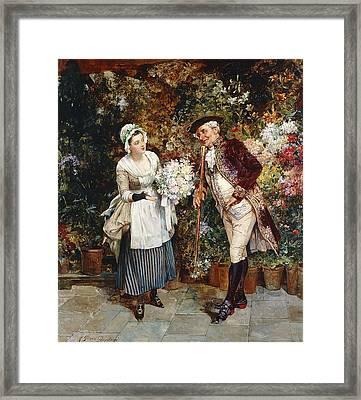 The Flower Girl Framed Print by Henry Gillard Glindoni