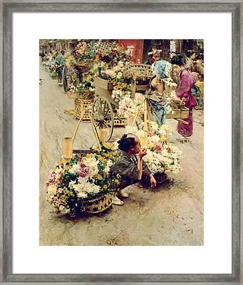 The Flower Market, Tokyo, 1892 Framed Print by Robert Frederick Blum