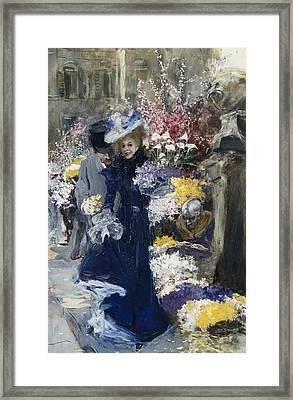 The Flower Seller Framed Print by Friedrich Stahl