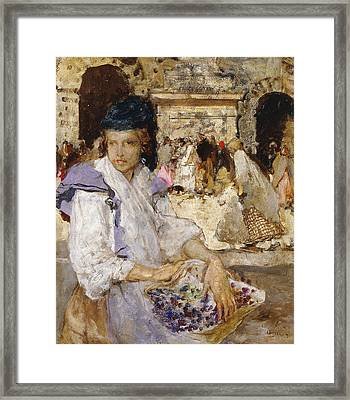 The Flowerseller Framed Print by Mose Bianchi