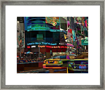 The Fluidity Of Light - Times Square Framed Print by Miriam Danar