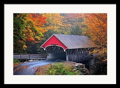 New England Village Scene Framed Prints