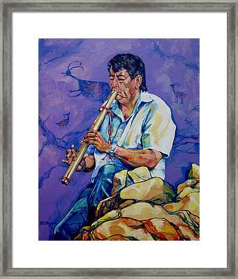 The Flute Player Framed Print by Derrick Higgins
