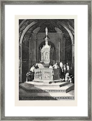 The Font In The Baptistery Of Sienna Cathedral Framed Print by English School
