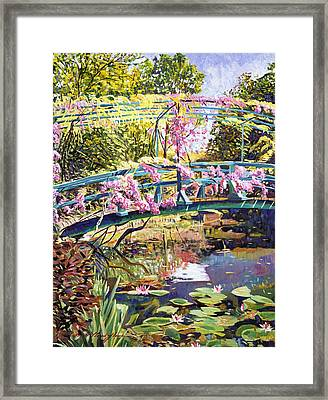 The Footbridge At Giverny Framed Print by David Lloyd Glover
