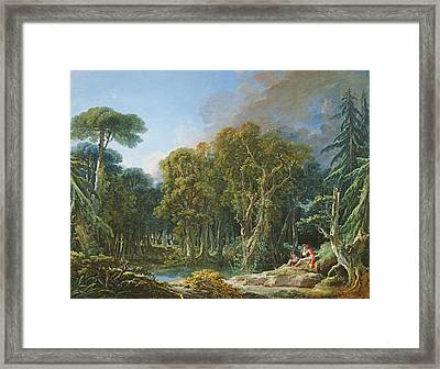 The Forest, 1740 Oil On Canvas Framed Print by Francois Boucher