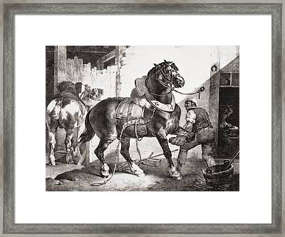 The Forge, From Etudes De Cheveaux, 1822 Framed Print