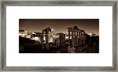 The Forum Temples At Night Sepia Framed Print