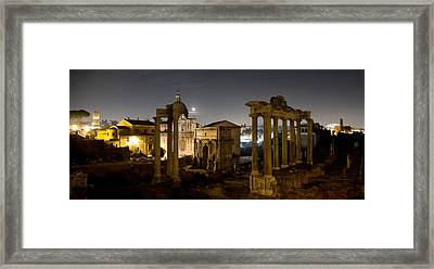 The Forum Temples At Night Framed Print
