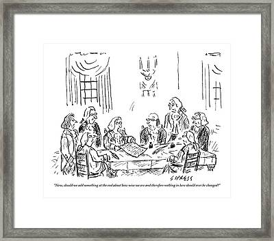 The Founding Fathers Sit Around The Constitution Framed Print